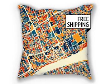 Detroit Map Pillow - Michigan Map Pillow 18x18