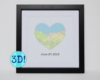 Map Engagement Gift- Engagement Gift for Couple/ Unique Engagement Gift/ Engagement Location/ City Map Print/ Custom Wedding Map/ Heart Map