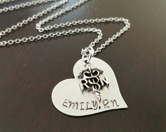 Hand Stamped Personalized RN Nurse Student Name Grad Gift Medical Engraved Heart Necklace