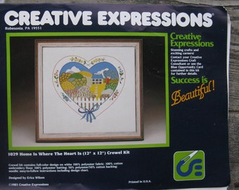 erica wilson crewel kit creative expressions 1029 home is where the heart is 1983