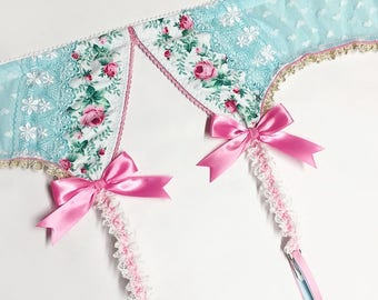 Light Turquoise with Pink Roses Garter Belt - Pick Your Size - Handmade Vegan Bridal