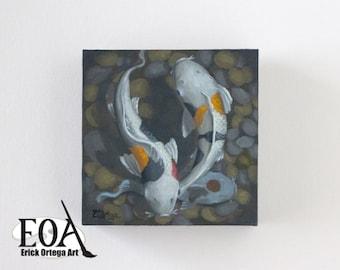 "Koi oil painting original 6""X6"""