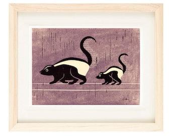 SKUNKS Linocut Reproduction Art Print: 4 x 6, 5 x 7
