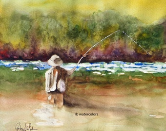 FLY FISHING ORIGINAL / Fly Fishing art original / Fly Fishing Painting (14 x 12 Fly Fisherman watercolor) Father's Day Gift