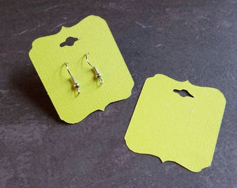 Neon Yellow, Bright Yellow,  Earring Cards, Pierced Earring Cards
