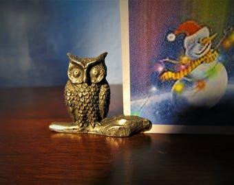 Vintage Towl Pewter Owl Card Holder Set of Four