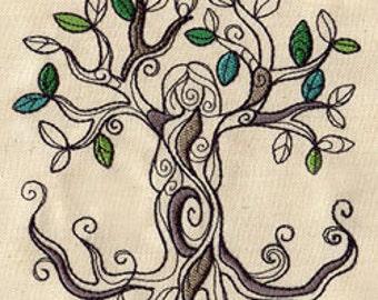 Tree Goddess Embroidered Flour Sack Hand/Dish Towel