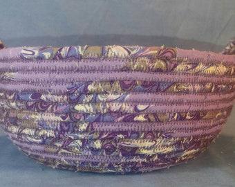 Medium Fiber Art Rope Basket, Purple Lavender Swirl, Sisal Hemp Basket, Rope Bowl with Handles, Coil Coiled Rope Basket