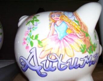 Personalized Piggy Bank - Fairies and Flowers