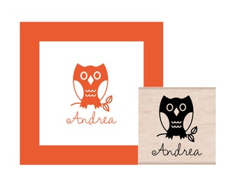 Owl Personalized Rubber Stamp