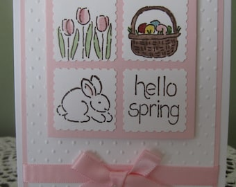Handmade Greeting Card: Hello Spring (Spring/Easter Theme)