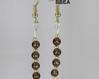 Earrings smoky quartz, stop smoking stone, beads 4x4mm.