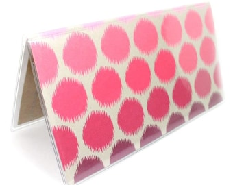 Checkbook cover - Ombre Ikat Dots - mulberry and pink dotted checkbook holder - top tear or side tear