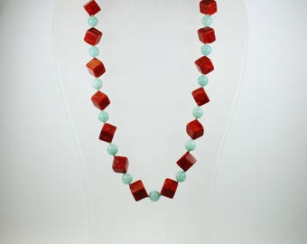 Mid Century Style (1933-1965) Sterling Silver Sponge Coral and Amazonite Patterned Beaded Necklace
