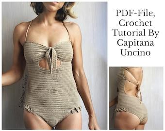 PDF-file, Crochet PATTERN for Ariella Swimsuit, Basic/cheeky bottom, onepiece,  Sizes XS-xL,