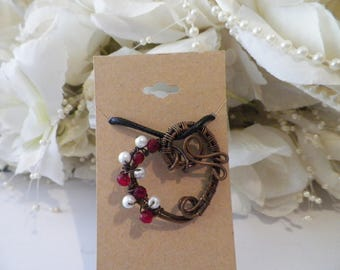 Wire wrapped copper heart pendant with red beads and pearls