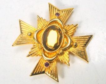 AVON Signed Iron Cross Gold Brooch or Pendant, Unused Maltese , Medieval, Thrones Games, Renaissance, Smokey Topaz Color Glass Center Stone