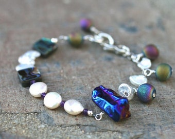 White Freshwater Pearl, Rainbow Moonstone, Abalone Shell and Purple Titanium Quartz Crystal Abstract Handmade Bracelet, Gemstone Jewelry