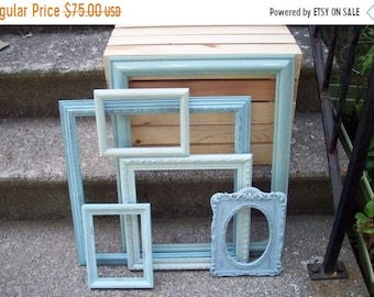 Memorial Day SALE Open Frame Gallery, set of 6 hand painted French light blue ombre, Ornate photo prop wedding decoration, Rustic wall decor