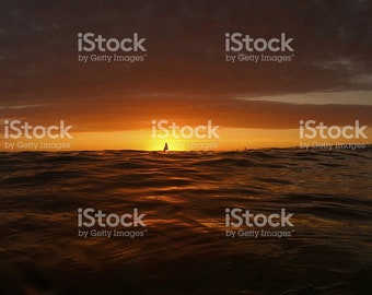 Canvas of a Sunset with a silhouette of a sailboat - Ready to ship