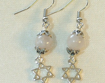 Star of David Earrings - White Quartz