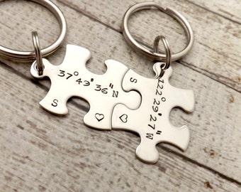 personalized keychain - Couples Keychains, GPS coordinates, puzzle keychains, wedding gift, personalized key chains, GPS jewelry-GPS keychai