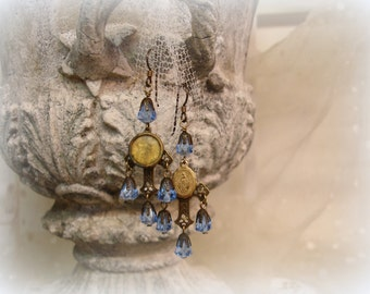 persuasion one of a kind vintage assemblage earrings veRy vintage holy medals and sapphire glass rosary beads