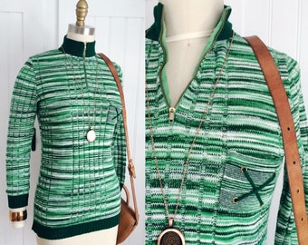 Vintage 1970's green space dye knit crew neck hip length sweater