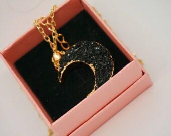 Druzy moon pendant necklace