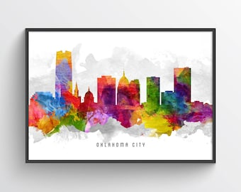 Oklahoma City Skyline Poster, Oklahoma City Art, Oklahoma City Print, Oklahoma City Decor, Home Decor, Gift Idea, USOKTU13P