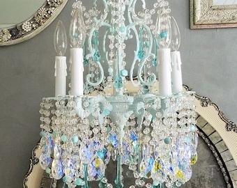 Vintage Chandelier, Light Aqua Chandelier, Petite Chandelier, Home Decor, Vintage Lighting, AB Crystal Chandelier, Aqua Chandelier