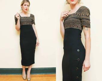 Hourglass Dress // Liz Claiborne Bodycon Dress // 1990s Square Neckline Side Button Secretary Dress Size 6 Small