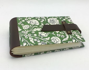 Mini Photo Album, Leather and Green Tuscan Woodcut, holds 48 4x6 photos, In Stock