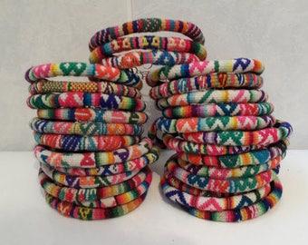 Wholesale Lot 25 Peruvian vintage fabric textile Bracelets Handmade Peru