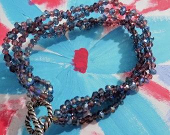 Purple blue braided bracelet #3