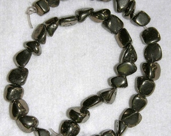 Pyrite, Pyrite Nugget, Natural Stone, Large Nugget, Organic Shapes, Half Strand, 8-13mm, AdrianasBeads