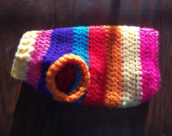 Colorful crocheted small dog sweater