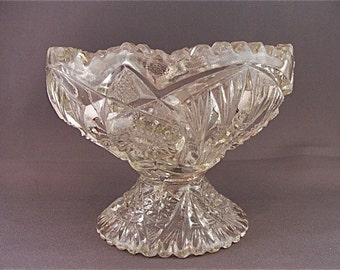 Vintage Early American Pattern Glass Open Compote