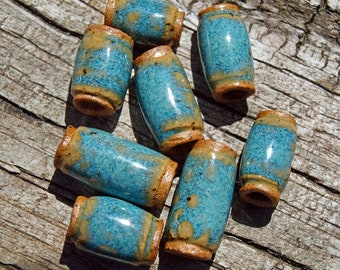 Beads, Handmade beads, Ceramic Beads, Stoneware beads, Beads with 4mm holes, Pottery beads, large hole beads, macrame beads, hair beads