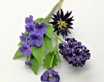 Blue Violet Charming, Miniature Handcrafted Polymer Clay Flowers Supply set of 4 bunches