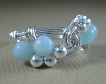 Amazonite and Sterling Silver Vortex  Wire Wrapped Ring