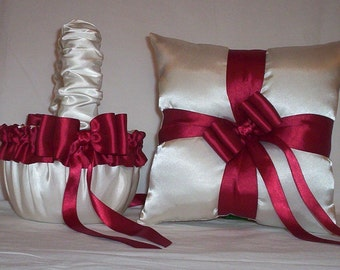 Ivory Cream Satin With Candy Apple Red Ribbon  Flower Girl Basket And Ring Bearer Pillow