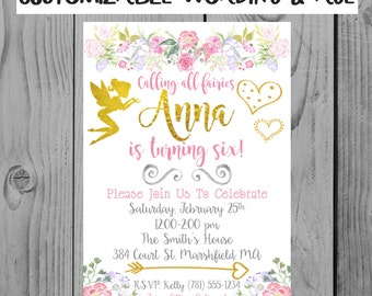 Custom Floral Fairy Birthday Invitation Girl Party Flower Party Invitation Fairy Party Invitation Floral Invitation Fairy Birthday Party