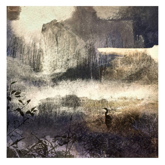 November, limited edition, heron, sepia, winter, neutrals, wall decor, works on paper, landscape, field, nature print, bird art,muted color