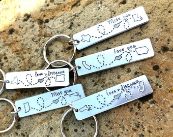 LDR State Keychain - Two States Keychain - Long Distance Relationship Gift - Choose Your States #barm