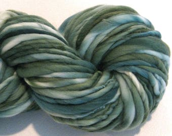 Bulky Handspun Yarn Almost Solid Evergreen 116  yards hand dyed wool spruce green yarn waldorf doll hair knitting supplies crochet supplies