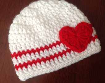 Valentines Crochet Hat with Heart Applique Girls Valentines Hat Red and White Hat Baby Valentines Hat Valentines Crochet Hat