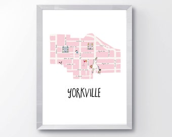 Yorkville Toronto PRINTABLE - Toronto wall art - Toronto neighbourhood Print - Yorkville Neighbourhood Print - Toronto City Print