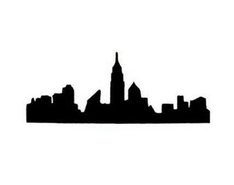 New York City Skyline silhouette Unmounted rubber stamp, NYC, cityscapes, skyscraper, Sweet Grass Stamps No.15