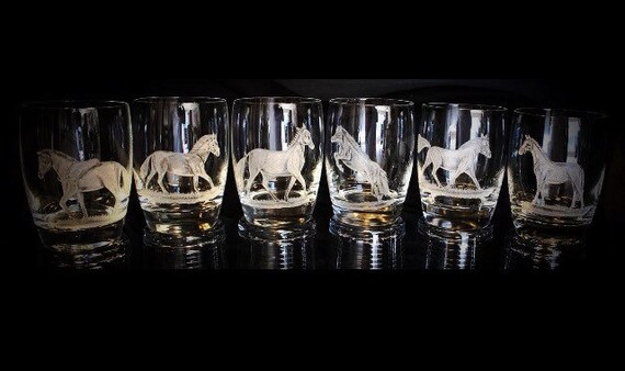 Hand Engraved Horses, stallion, mare, gallup, animals. Weddings, gifts, homedecor, mothers, ArtGlass, bespoke, personalized